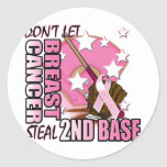 Don't Let Breast Cancer Steal 2nd Base Round Sticker