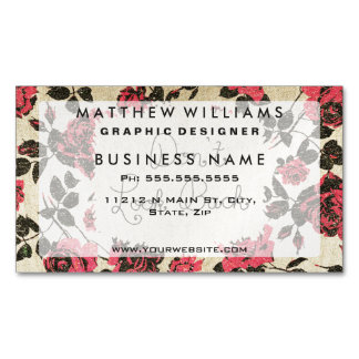 """Don't Look Back"" with Red Rustic Roses & Gold Magnetic Business Cards"