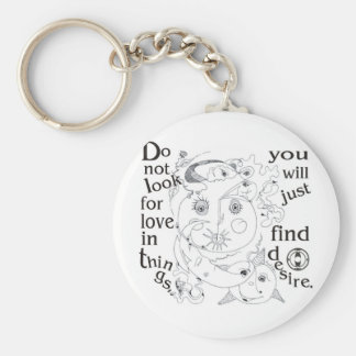 Dont look love in things, you´ll just find desire basic round button key ring