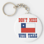 DON'T MESS TEXAS w/Chilean Flag Basic Round Button Key Ring