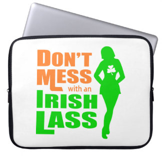Don't Mess with an Irish Lass Funny Laptop Computer Sleeves