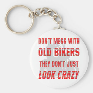 Don't Mess With Old Bikers They Don't Just Look Cr Basic Round Button Key Ring