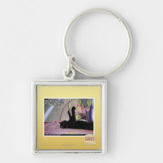 Don't Mind Me Silver-Colored Square Key Ring