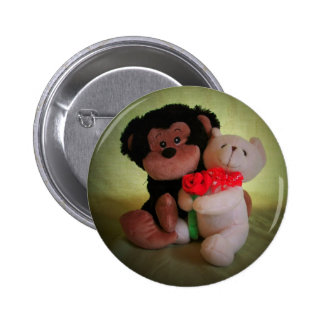 Don't monkey with my teddy bear 6 cm round badge