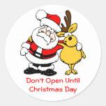 Don't Open Til Christmas Cute Santa and Reindeer