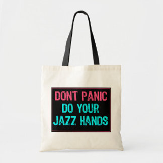 Don't Panic Sign- Do Your Jazz Hands Lt Blue/Pink Canvas Bags