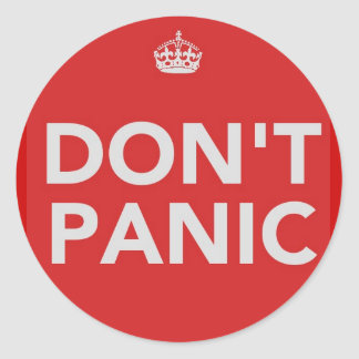 DON'T PANIC STICKERS