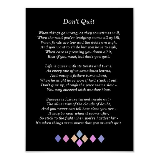 Don't Quit Poem - art print