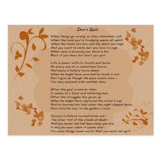 Don't Quit poem - postcard
