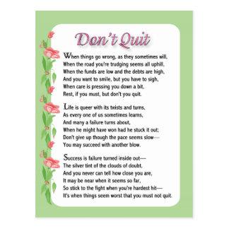 Don't Quit Poem Postcard