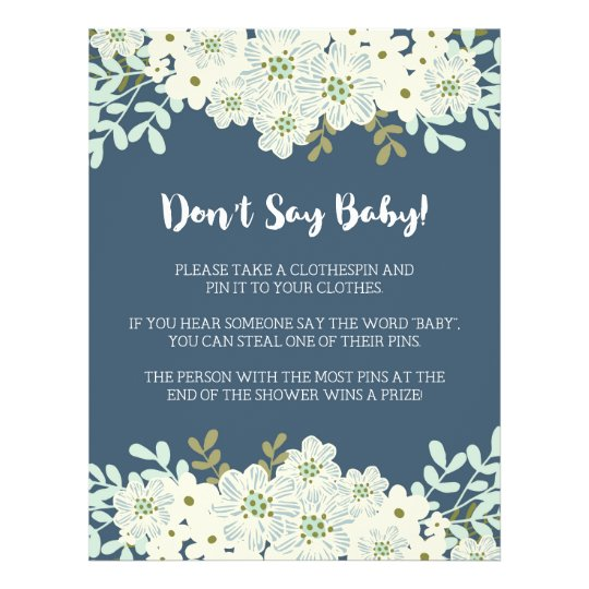 Don't Say Baby! Baby Shower Game Flyer