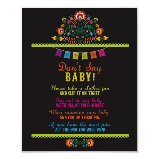Don't Say Baby Fiesta Shower Games Poster