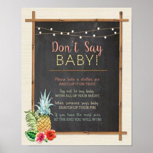 Don't Say Baby Luau Aloha Shower Poster