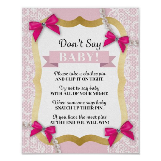 Don't Say Baby Pink Bow Pearls Lace Shower Poster