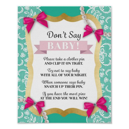 Don't Say Baby Pink Mint Pearls Lace Shower