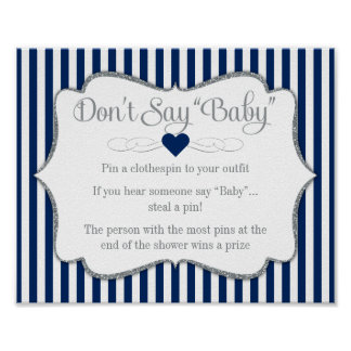 Don't Say Baby Shower Game Navy Blue Silver Boy Poster
