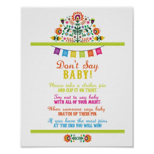 Don't Say Baby Shower Games Poster Fiesta
