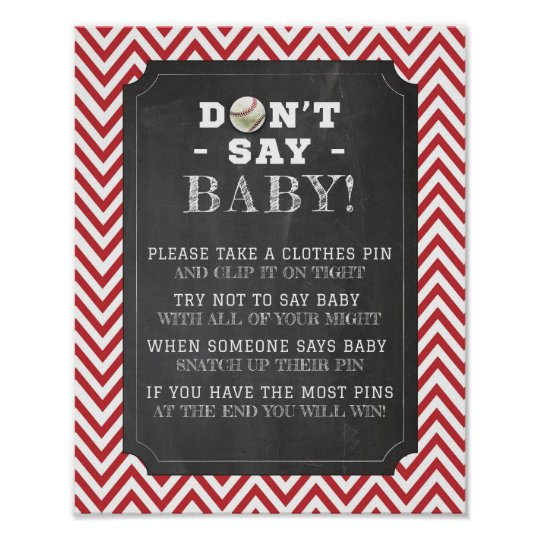 Don't Say Baby Stag Boy Baseball Shower Poster