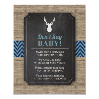 Don't Say Baby Stag Boy Wood Rustic Shower Poster