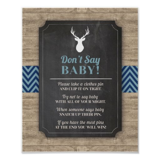 Don't Say Baby Stag Boy Wood Rustic Shower