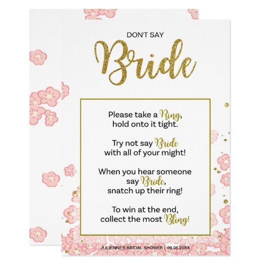 Don't Say Bride Bridal Shower Ring Game |
