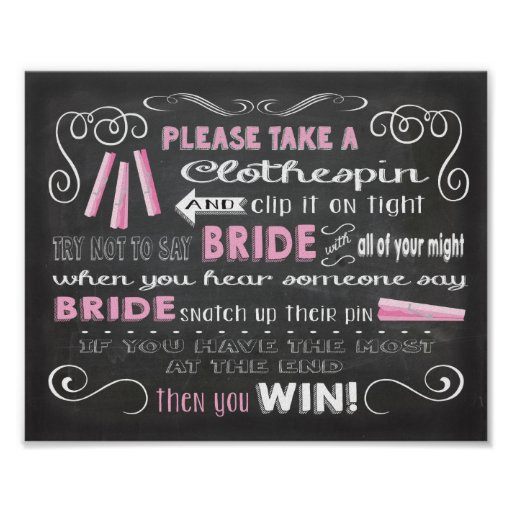 Don't say Bride chalkboard clothespin poster