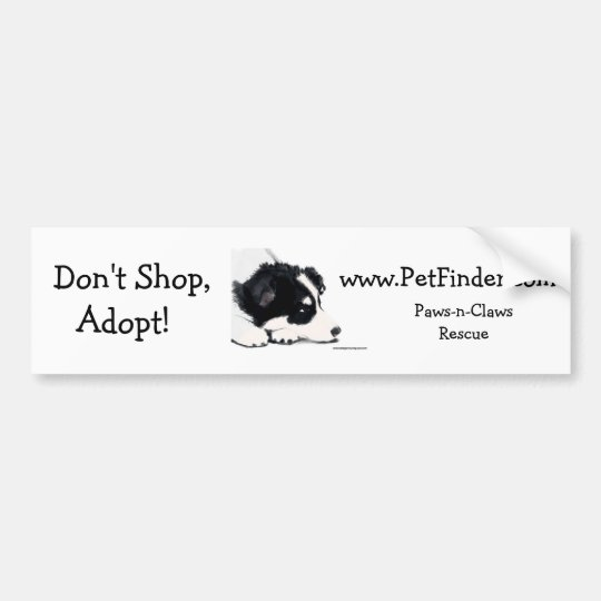 Don't Shop, Adopt!, www.PetFinder.com Bumper Sticker