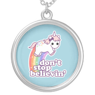 Don't Stop Believin' in Unicorns Silver Plated Necklace