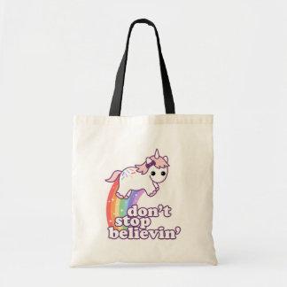 Don't Stop Believin' in Unicorns Tote Bag