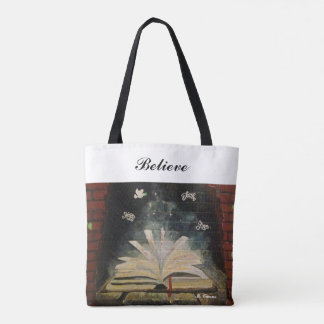 """Don't Stop Believing."" All-Over-Print Tote Bag"