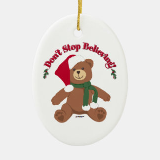 Don't Stop Believing! Christmas Bear Ceramic Oval Decoration