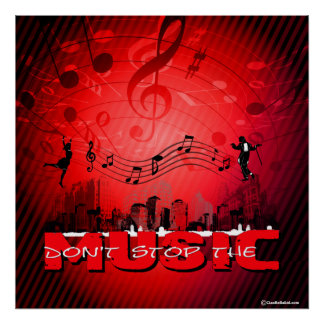 Don't Stop The Music Red Background Poster