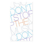 DON'T STOP THE MUSIC WHITE TYPOGRAPHIC BUSINESS CARD TEMPLATES
