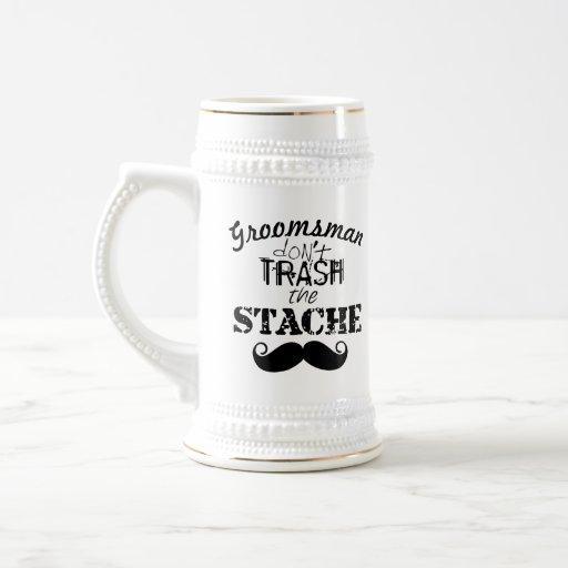 Don't Trash the Stache Mustache Retro Hipster Mugs