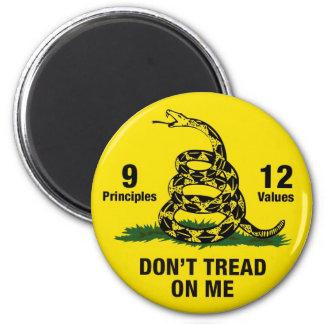 Don't Tread on Me Flag 9 Principles 12 Values 6 Cm Round Magnet