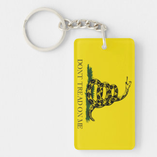 Don't Tread on Me Gadsden American Flag Double-Sided Rectangular Acrylic Key Ring
