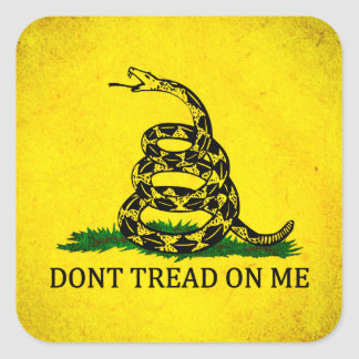 Dont Tread On Me Gadsden Flag - Distressed Square Sticker