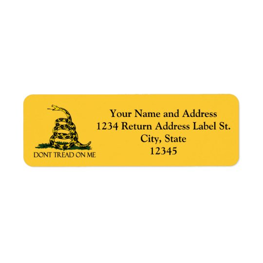 Don't Tread on Me, Gadsden Flag Patriotic History Return Address Label