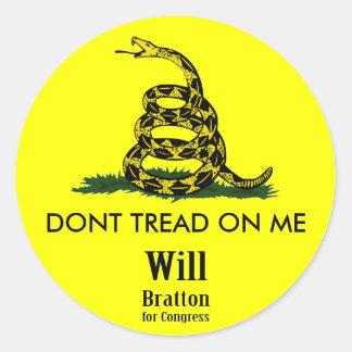 DONT TREAD ON ME, Gadsden Rattler, Will Bratton Round Sticker
