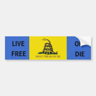 Dont tread on me, LIVE, FREE, OR, DIE Bumper Sticker