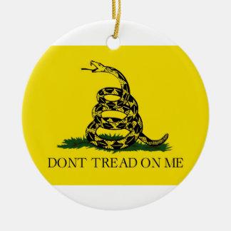 Dont Tread On Me Revolutionary War Gadsden Flag Double-Sided Ceramic Round Christmas Ornament