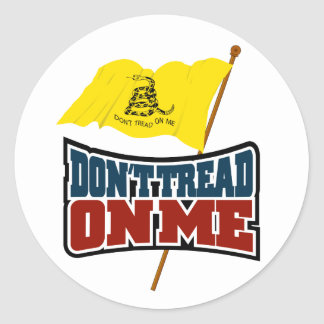 Dont Tread On Me Waiving Gadsden Flag Round Sticker