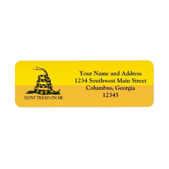 Don't Tread on Me, Yellow Gadsden Flag Ensign Return Address Label