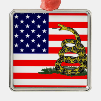 Don't Tread On The USA Silver-Colored Square Decoration