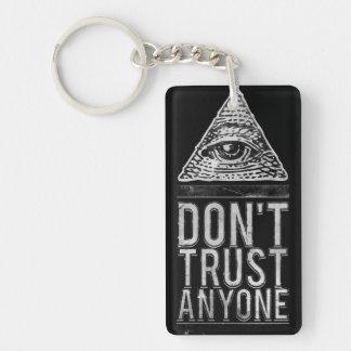 Don't trust anyone Double-Sided rectangular acrylic key ring