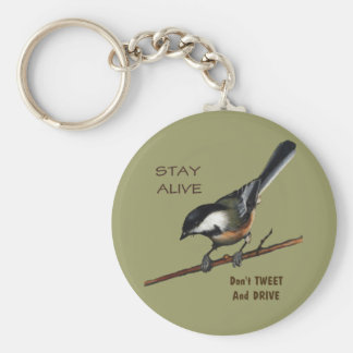 Don't Tweet & Drive: Bird: Color Pencil Art Basic Round Button Key Ring