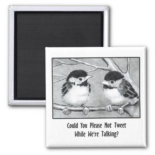 DON'T TWEET WHILE WE'RE TALKING: Pencil Art, birds Magnets