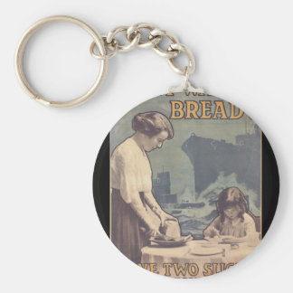 Don't waste bread! Save two_Propaganda Poster Basic Round Button Key Ring