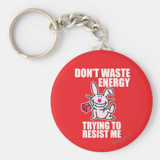 Don't Waste Energy Basic Round Button Key Ring