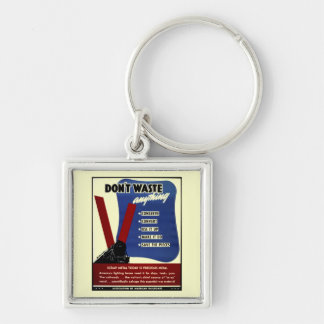 Don't Waste Scrap Metal Silver-Colored Square Key Ring